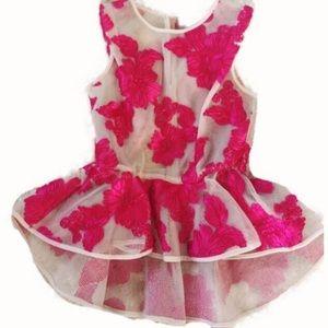 Tops - Pink & Cream Floral Applique Mesh Top